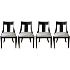 Modern Black Splat-Back Dining Chairs, Set of Four