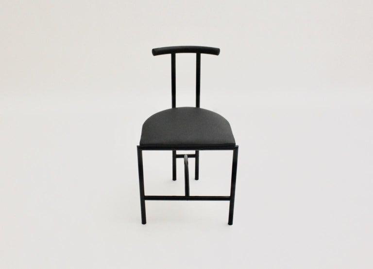 British Modern Black Vintage Metal Faux Leather Tokyo Chair by Rodney Kinsman, 1985, UK For Sale