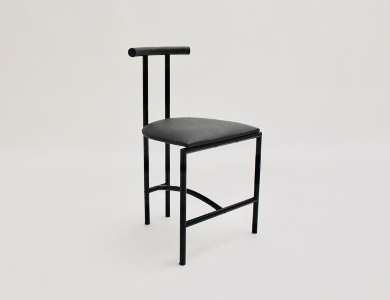 Late 20th Century Modern Black Vintage Metal Faux Leather Tokyo Chair by Rodney Kinsman, 1985, UK For Sale