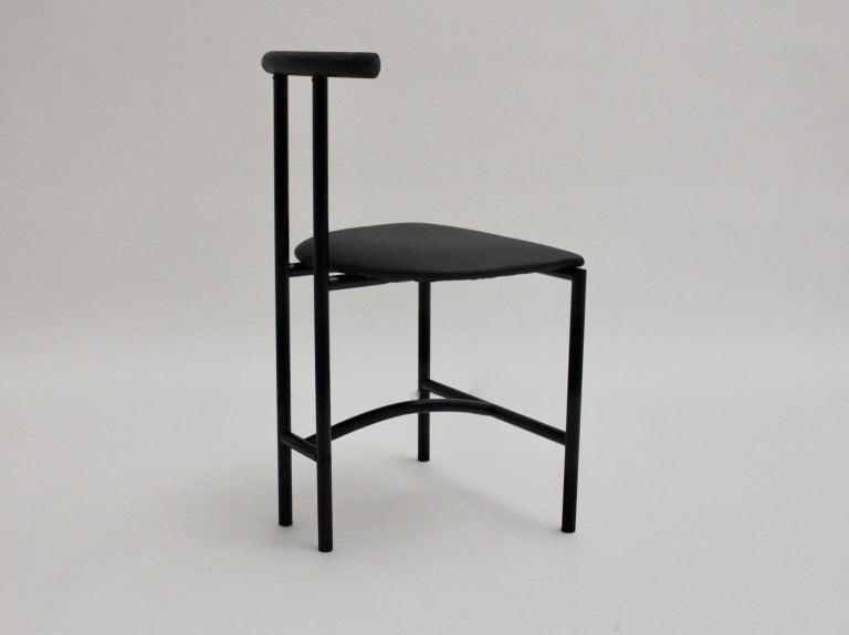 Modern Black Vintage Metal Faux Leather Tokyo Chair by Rodney Kinsman, 1985, UK For Sale 1