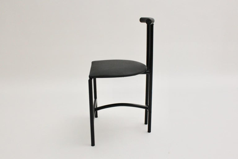 Modern Black Vintage Metal Faux Leather Tokyo Chair by Rodney Kinsman, 1985, UK For Sale 2