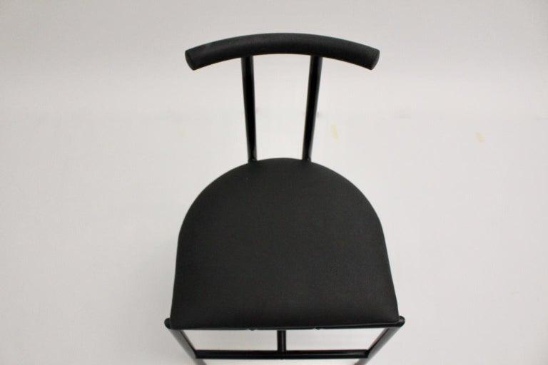 Modern Black Vintage Metal Faux Leather Tokyo Chair by Rodney Kinsman, 1985, UK For Sale 3
