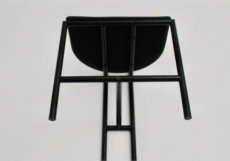 Modern Black Vintage Metal Faux Leather Tokyo Chair by Rodney Kinsman, 1985, UK For Sale 4