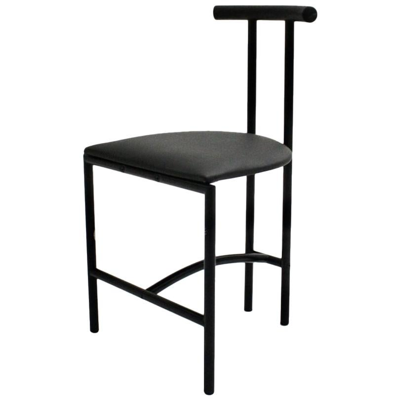 Modern Black Vintage Metal Faux Leather Tokyo Chair by Rodney Kinsman, 1985, UK