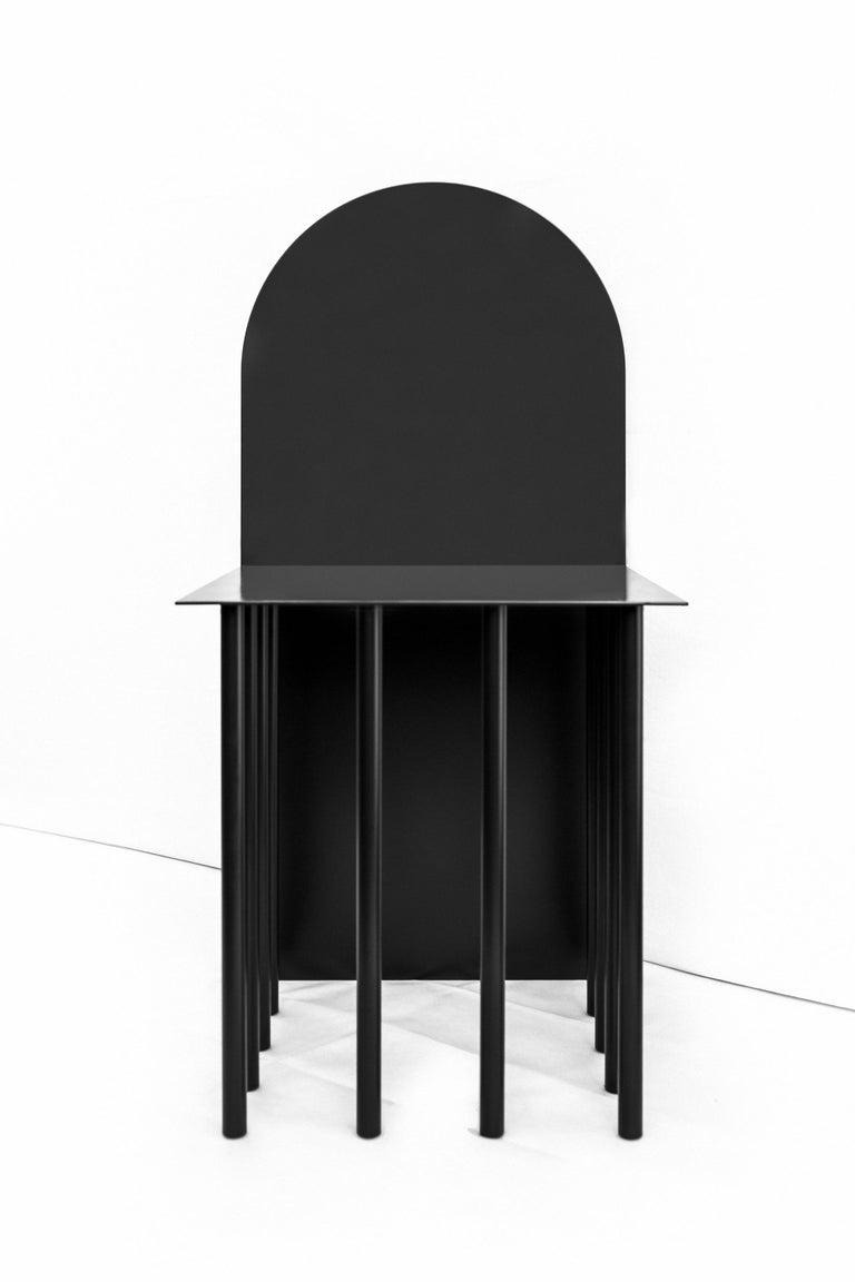 Italian Modern Black White Chair Metal Mongolian Pillow by Nobe Italia For Sale