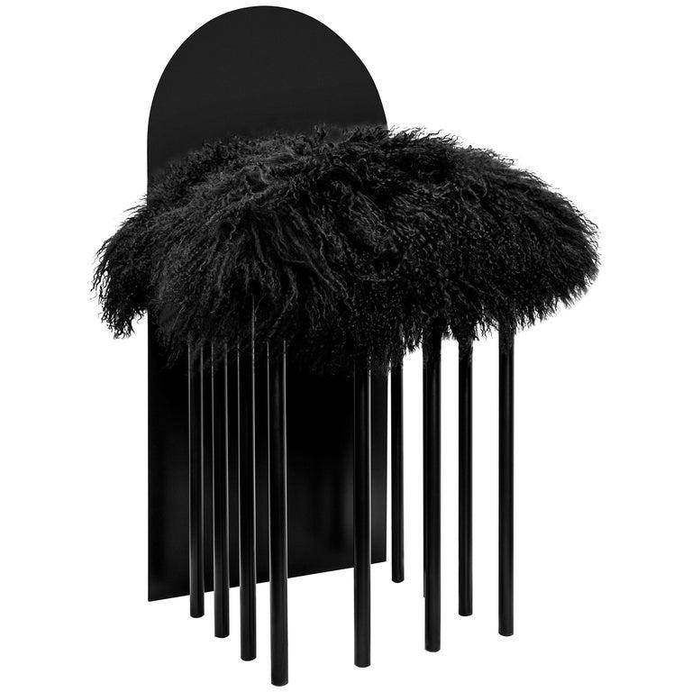 Modern Black White Chair Metal Mongolian Pillow by Nobe Italia For Sale
