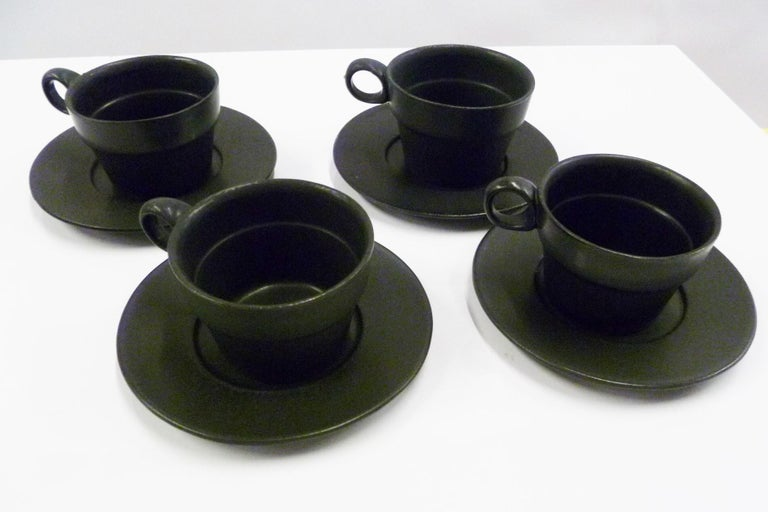American Modern Black White Coffee Set Bennington Potteries of Vermont David Gil 1960s For Sale