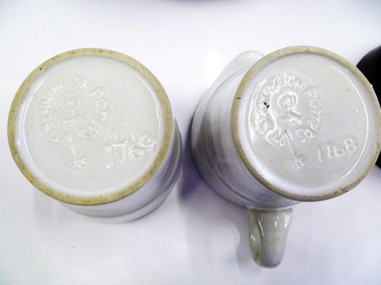 Mid-20th Century Modern Black White Coffee Set Bennington Potteries of Vermont David Gil 1960s For Sale