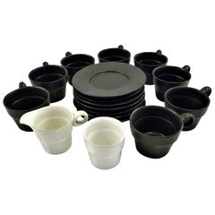 Modern Black White Coffee Set Bennington Potteries of Vermont David Gil 1960s
