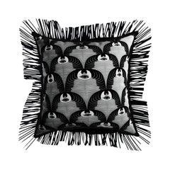 Modern Black & White Cushion, Zebra Pattern Velvet Pillow Black Leather Fringes