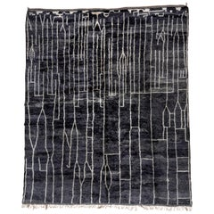 Modern Black and White Large Moroccan Rug