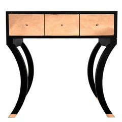 Modern Black with Copper Hallway Console with Drawers