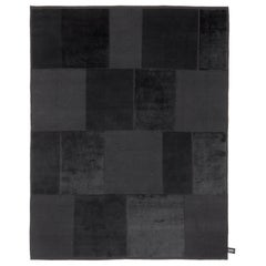 Modern Black Wool and Silk Rug, Patchwork Italian Design Handmade in Nepal
