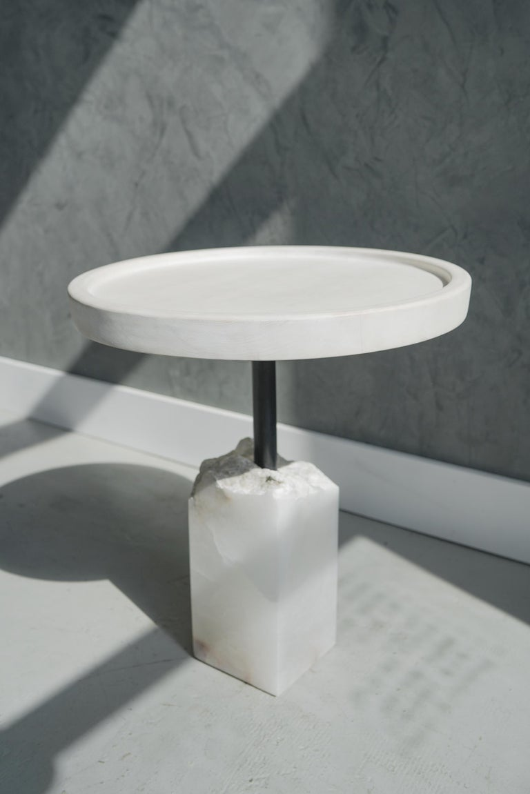 American Modern Bleached Maple and Alabaster Side Table For Sale