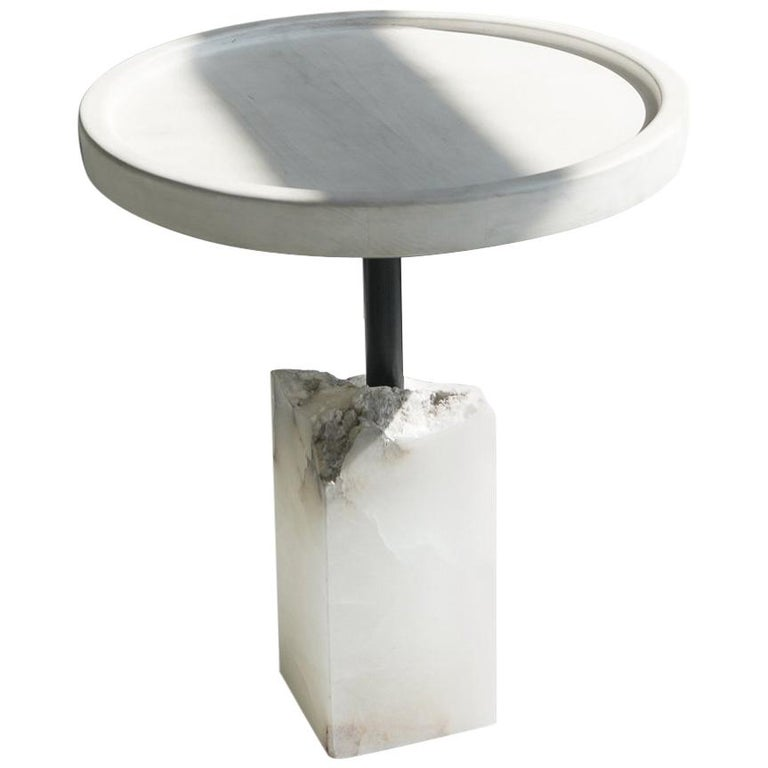 Modern Bleached Maple and Alabaster Side Table For Sale