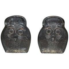 Modern Blenko Glass Owl Bookends