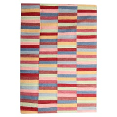 Modern Block Colour Wool Kilim Handmade Striped Area Rug
