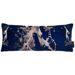 Modern Blotto Navy Cotton Velvet Lumbar Cushion by 17 Patterns