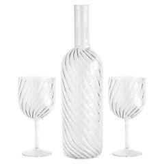 "Modern Blown Glass ""Dafne Bottle"" with 2 Glasses"