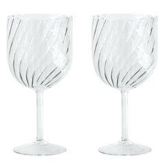 "Modern Blown Glass ""Dafne Glass"" x2"