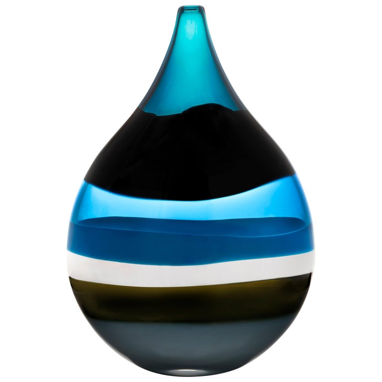 Modern Blown Glass Vase, 6 Banded Blue Flat Teardrop by Siemon & Salazar For Sale