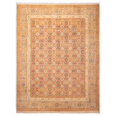 Modern Blue and Beige Escorial Wool Rug