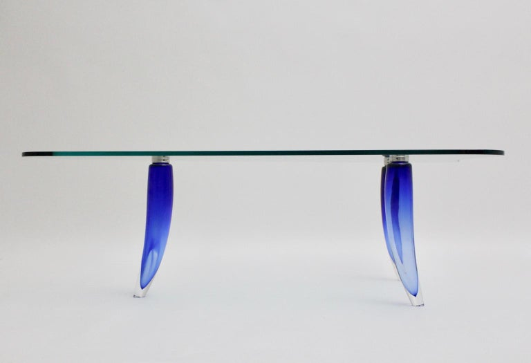 Modern Blue and Clear Vintage Glass Coffee Table Seguso attr. Italy, circa 1980 For Sale 5