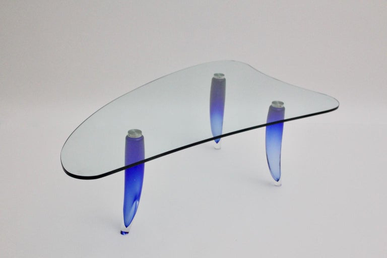 Modern Blue and Clear Vintage Glass Coffee Table Seguso attr. Italy, circa 1980 For Sale 6