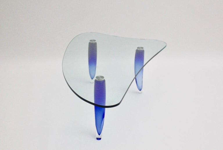 Modern Blue and Clear Vintage Glass Coffee Table Seguso attr. Italy, circa 1980 For Sale 7