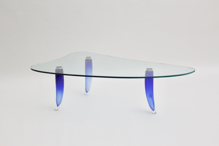 Modern Blue and Clear Vintage Glass Coffee Table Seguso attr. Italy, circa 1980 For Sale 10