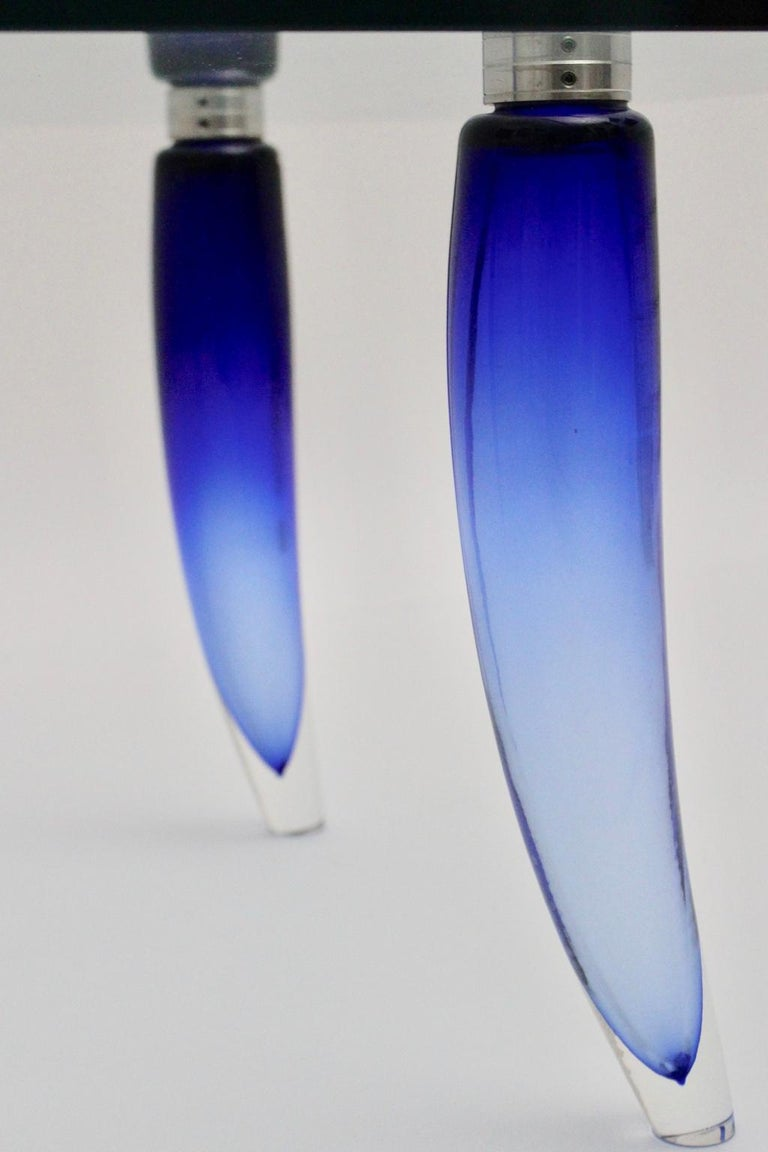 Modern Blue and Clear Vintage Glass Coffee Table Seguso attr. Italy, circa 1980 For Sale 12