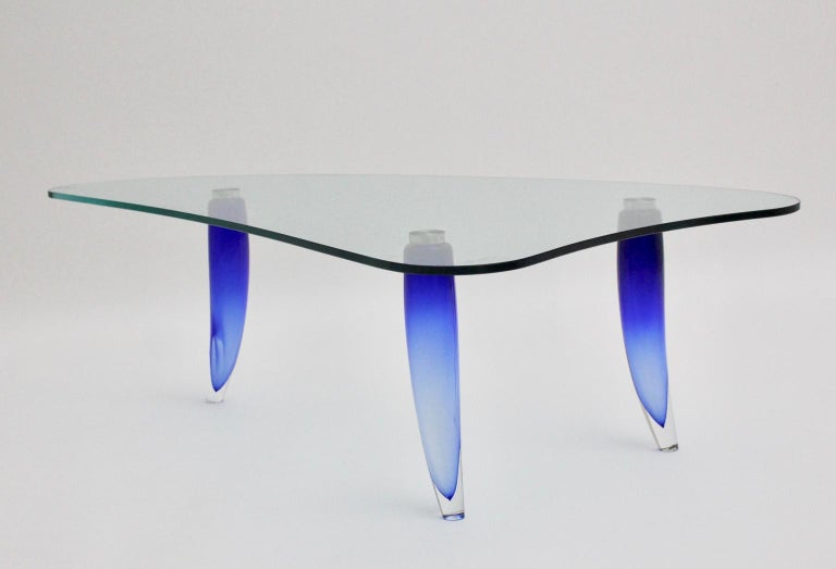 Italian Modern Blue and Clear Vintage Glass Coffee Table Seguso attr. Italy, circa 1980 For Sale