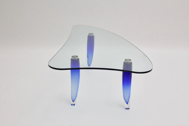 Modern Blue and Clear Vintage Glass Coffee Table Seguso attr. Italy, circa 1980 For Sale 1
