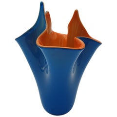 Modern Blue and Orange Incamiciato Fazzoletto Murano Glass Vase by Gino Cenedese