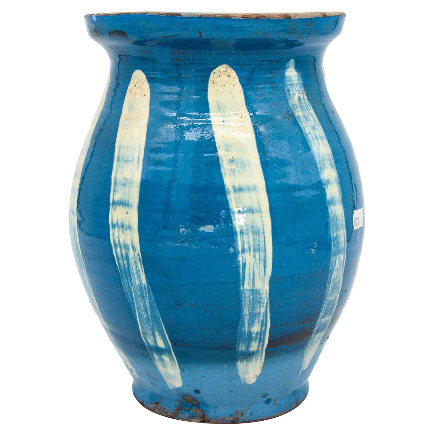 Modern Blue and White Glazed Ceramic Pitcher