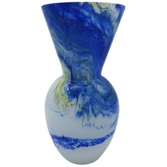 "Modern Blue and White Murano Glass Vase ""Galaxy"", by Gino Cenedese, 1980s"