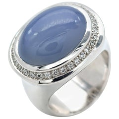 Modern Blue Chalcedony and Diamond 18 Karat Gold Ring