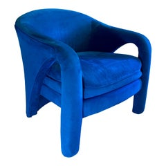 Modern Blue Club Chair in the Style of Vladimir Kagan