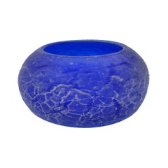 "Modern Blue ""Corroso"" Murano Glass Bowl with Scavo Finish by Cenedese, 1980s"
