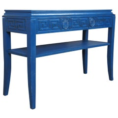 Modern Blue Greek Key Chinoiserie Console Hall Entry Media Display Table