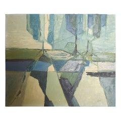 Modern Blue Green Abstract Oil on Canvas, California Art, 1970s