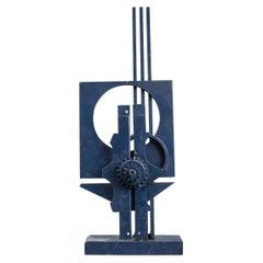 Modern Blue Monochrome Abstract Steel Sculpture