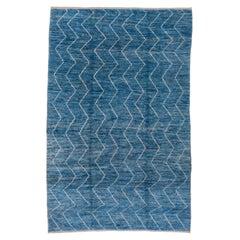 Modern Blue Moroccan Style Carpet, Zig Zag Design