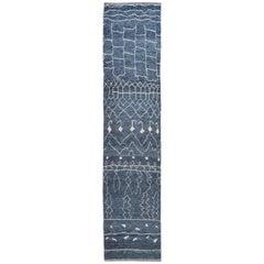 Modern Blue Moroccan Style Handmade Wool Runner