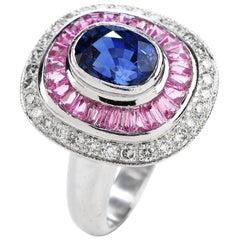 Modern Blue Pink Sapphire Diamond 18K Gold Cushion Cocktail Ring