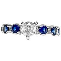 Modern Blue Sapphire Diamond Cocktail Engagement Ring
