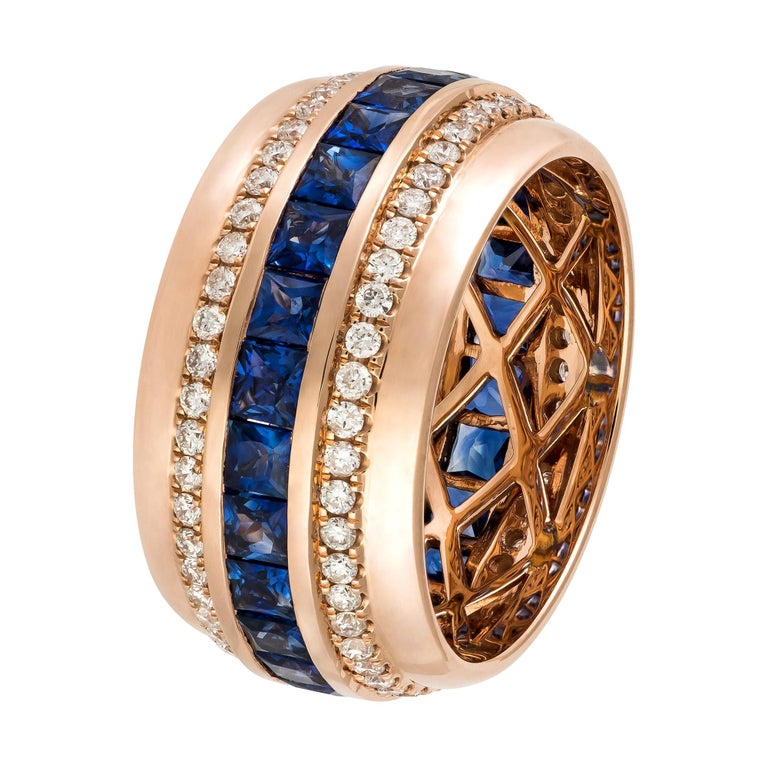 Modern Blue Sapphire Diamond Rose Gold 18K Band Ring for Her For Sale