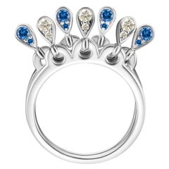 Modern Blue Sapphires and Diamond Kinetic Teardrop Cocktail Ring