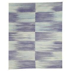 Modern Blue Scandinavian Style Kilim Afghan Wool Rug