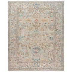 Modern Blue Sultanabad Handmade Floral Overisize Wool Rug